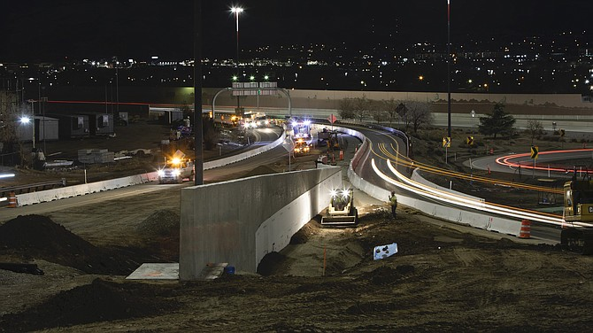 A road crew works on the Reno-Sparks Spaghetti Bowl Xpress project in February.
