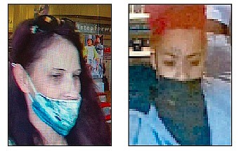 Shoplifters sought by the Douglas County Sheriff's Office. On the left at Famous Footwear, on the right Ulta.