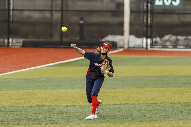 Douglas High graduate and MSU-Denver sophomore Haley Doughty fires in a throw from the outfield in a contest earlier this season. Though usually in a middle infielder role, Doughty has found quite a bit of success with the Roadrunners.