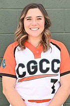 Camryn Quilling smiles in her Chandler-Gilbert Community College softball uniform.