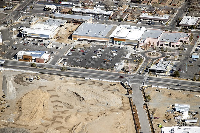 An aerial view of construction progress at Reno Public Market, seen March 30.