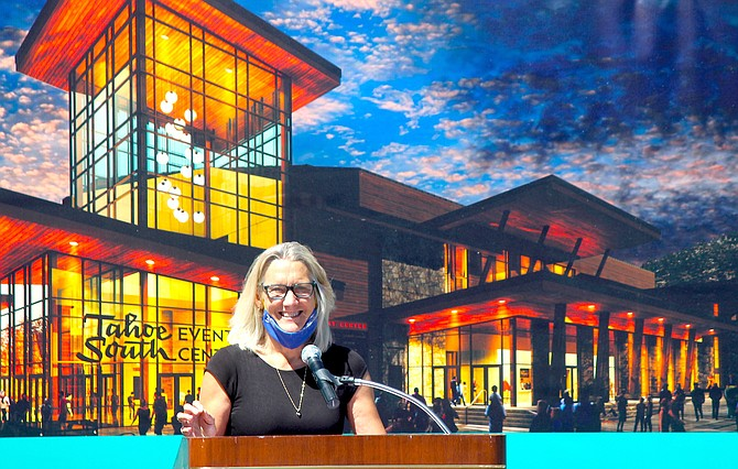 Lake Tahoe Visitors Authority President Carol Chaplin speaks at the July 2020 groundbreaking of the Tahoe South Events Center in Stateline.
