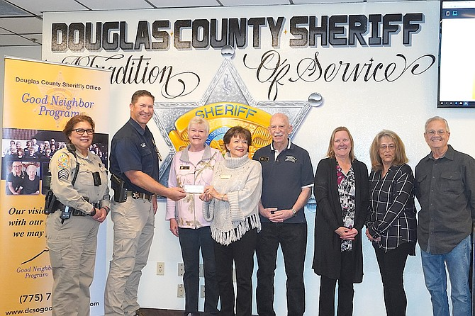 Sgt. Bernadette Smith, Sheriff Dan Coverley, former President Pat Smith, President Kate Brown, Grand Director Ray Hoyt, Secretary Virginia Irlikis, Sgt at Arms Janice Rhoades, Director Mike Rhoades.