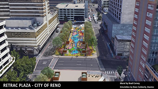 Conceptual view of the ReTRAC Plaza in downtown Reno. Mural by Brad Carney.