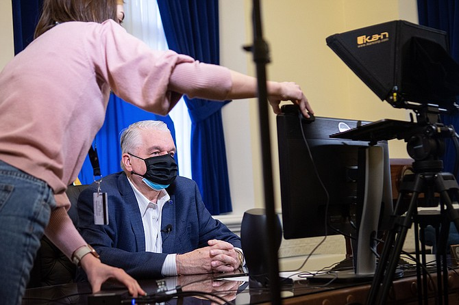 Governor Steve Sisolak during a virtual signing ceremony for AB 106 inside the Capitol building in Carson City on Friday, Feb. 12, 2021.