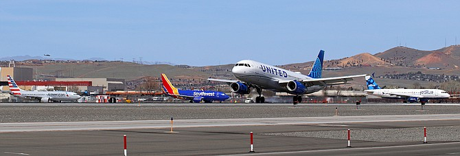 A United Airlines flight rolls on the runway at Reno-Tahoe International Airport in early April 2021. This summer, the Reno airport will have 25 non-stop destinations — the highest number in its history.