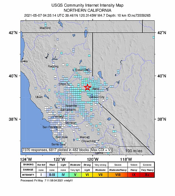 The extent where people reported the earthquake north of Truckee to the U.S. Geological Survey's Did You Feel It web site at https://earthquake.usgs.gov/earthquakes/eventpage/nc73559265/tellus
