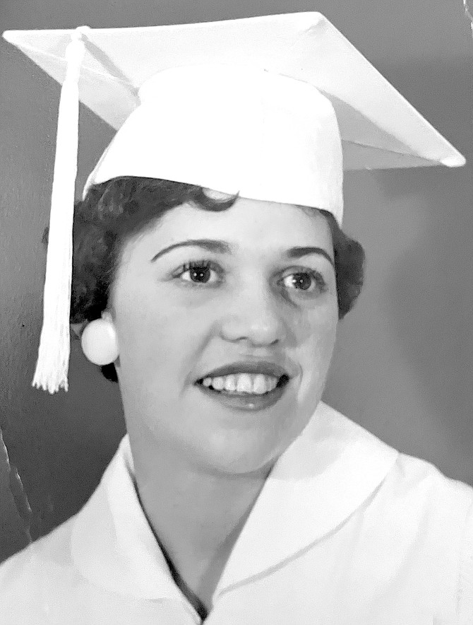 Betty Downs in her graduation robes