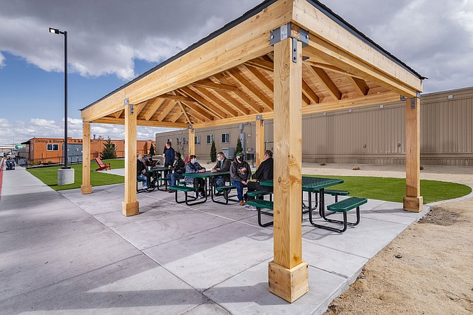 Several Northern Nevada businesses partnered to build a pavilion at Village on Sage Street.