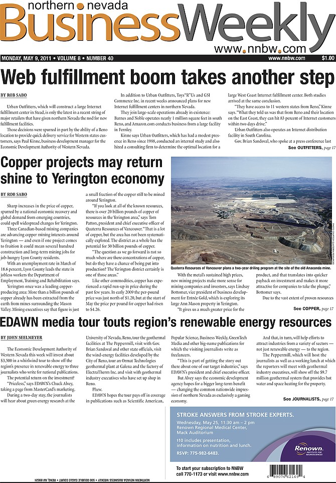 The cover of the May 11, 2011, edition of the Northern Nevada Business Weekly.