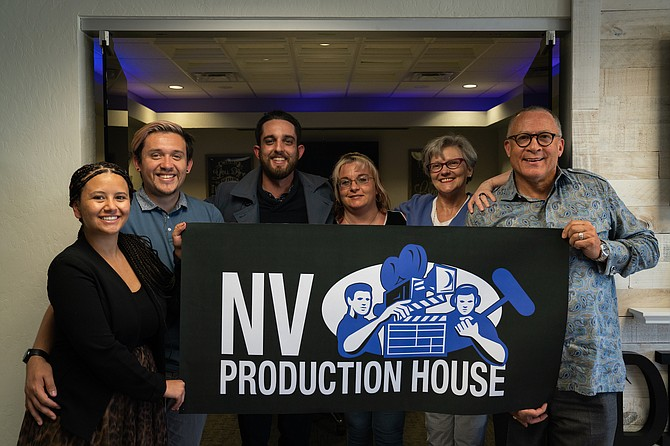 The NV Production House team, from left: Kassandra Butterfield, executive producer; Nico Sarabia, logistics/lead engineer, Michael Berry, director/cinematographer, Nicole Dunn, IT director; Lori LeClaire, creative director; and Mike Smith, director of business development.