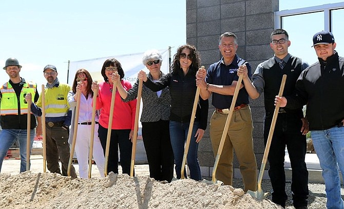 From left: CORE Construction Project Manager Kevin McCormack, Nevada Gold Mines Turquoise Ridge Manager Paul Wilmot, Nevada System of Higher Education Vice Chancellor of Academic and Student Affairs Crystal Abba, NSHE Regent Cathy McAdoo, Great Basin College President Joyce Helens, VanWoert Bigotti Architect Angela Bigotti, UNR President Brian Sandoval, SGA Winnemucca Center Student Edward Sanches and SGA Winnemucca Center Student German Barajas were on hand for the May 7 groundbreaking.