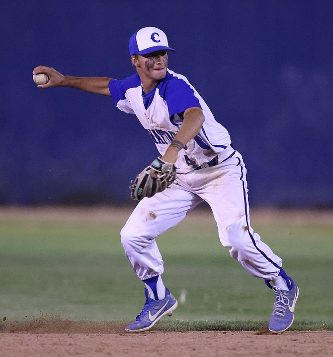 Dillon Damico winds up to throw after fielding a ground ball against Douglas Friday night.