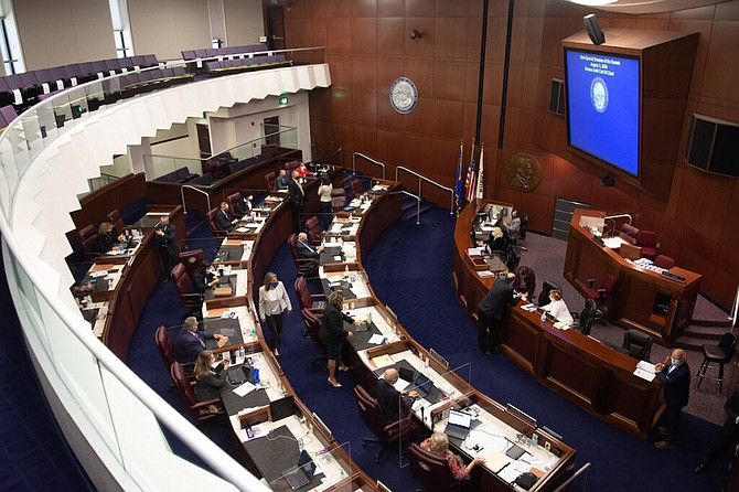 Senate chambers on Sunday, Aug. 2, 2020 during the third day of the 32nd Special Session of the Legislature in Carson City.