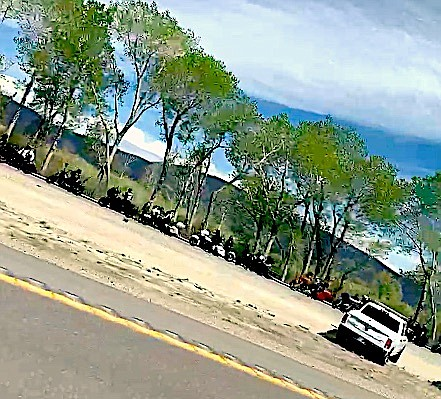 A Record-Courier reader submitted this photo of a traffic stop in Washoe Valley involving a large number of motorcyclists.