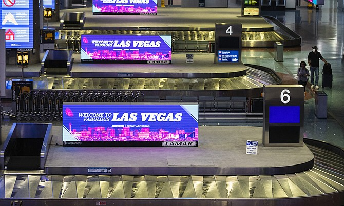 A nearly empty baggage claim area at McCarran International Airport on Friday, May 15, 2020.