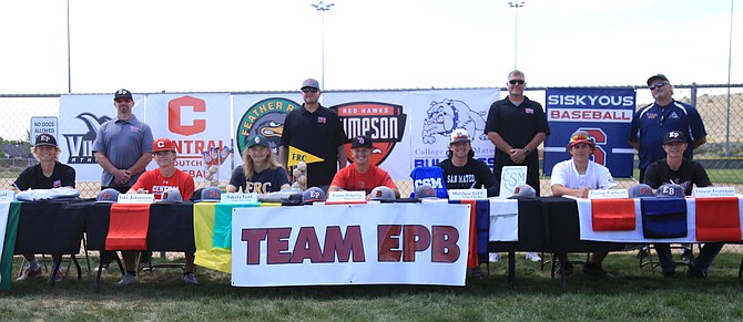 Team EPB, including four Douglas High baseball players, has a group of athletes sign to play collegiate baseball Sunday at James Lee Park.