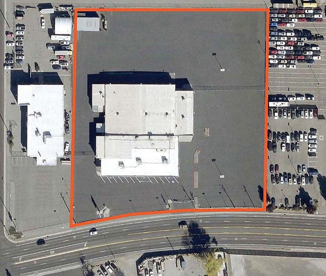 An overhead view of 3223 Mill St. in Reno, with the property outlined.