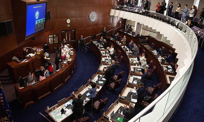 The Senate chambers during an afternoon floor session on the final day of the 81st session of the Legislature on Monday, May 31, 2021, in Carson City.
