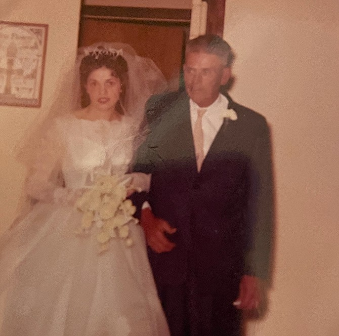 Betty Downs and Robert Wartgow in their wedding clothes. They were married Oct. 28, 1961.