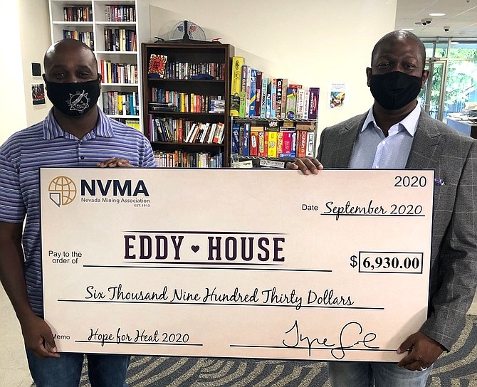 Eddy House CEO Diaz Dixon, left, stands with Tyre Gray, president of the Nevada Mining Association, after the 2020 campaign wrapped.