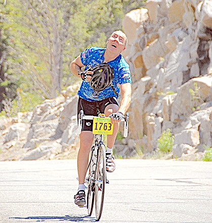 A cycler finishes the Death Ride.
