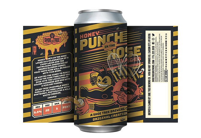 Honey Punch In the Nose Lager. Artwork by Matthew Lundahl