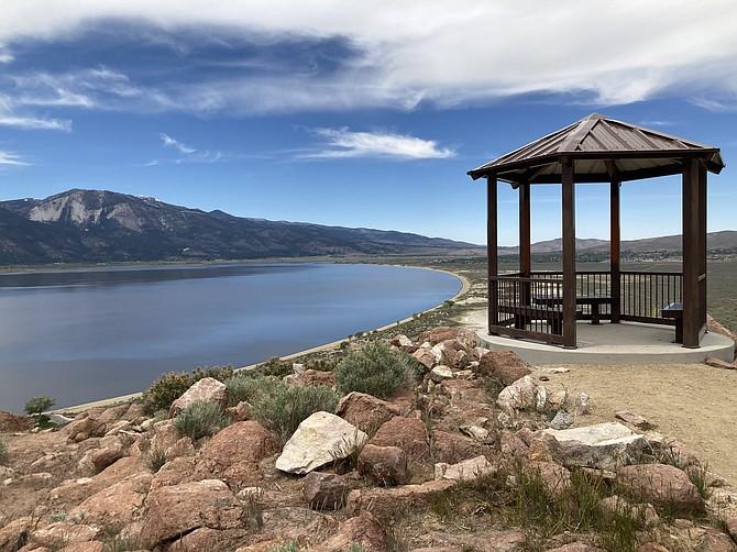 A gazebo overlooks Washoe Valley at the top of Deadman's Overlook Trail. (Photo: Kyler Klix/Nevada Appeal)