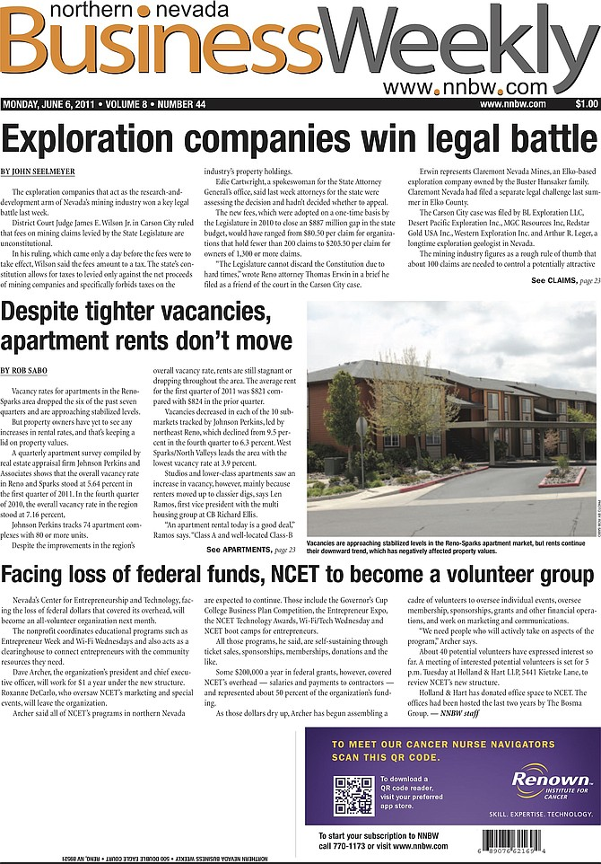 The cover of the June 6, 2011, edition of the Northern Nevada Business Weekly.