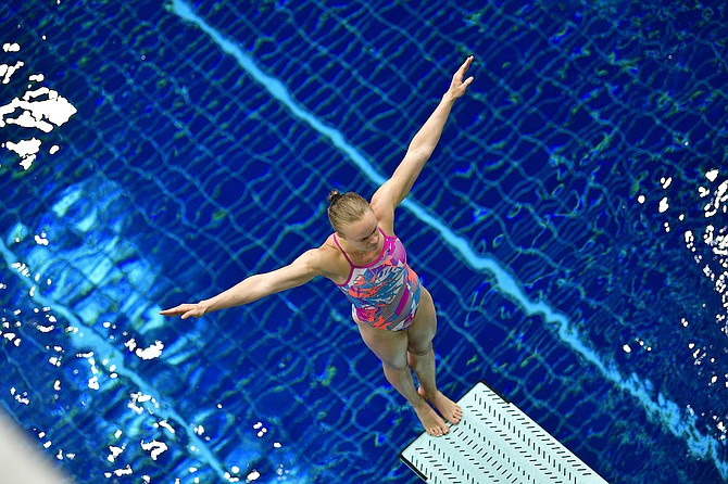 Carson City native Krysta Palmer prepares for her dive at the U.S Olympic Team Trials in Indianapolis, Indiana. Palmer and her partner Alison Gibson lead the 3-meter synchronized diving competition through the semifinals with the finals taking place Thursday.
