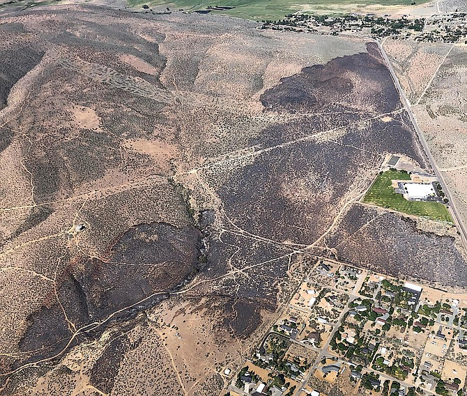 An aerial view of the area burned in the Jacks Valley fire on Wednesday.