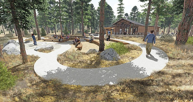 A drawing of the amphitheater that will be built at Spooner Lake.