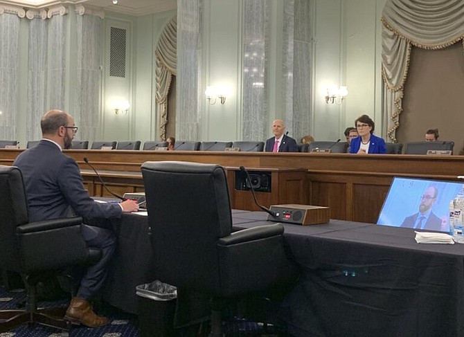 Outdoor Recreation Division Administrator Colin Robertson testifies before Sen. Jacky Rosen (D-NV), June 15, 2021.