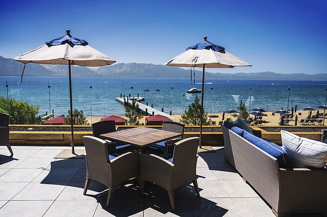 The view of Lake Tahoe from the Tahoe Beach Club property, as seen in August 2020.