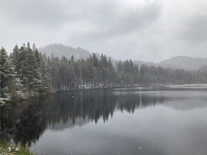 Hobart Reservoir is seen in May. This body of water is a popular fishing spot in Nevada and it takes 5 miles to hike here. (Photo: Kyler Klix/Nevada Appeal)