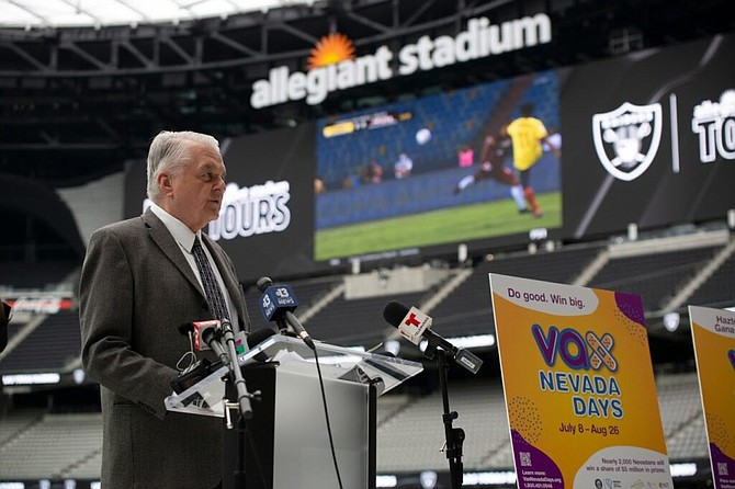 Governor Steve Sisolak speaks during a press conference inside Allegiant Stadium in Las Vegas on Thursday, June 17, 2021.