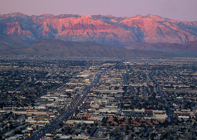 Suburbs of Las Vegas seen from atop the Stratosphere tower looking west down Sahara Avenue, toward the Spring Mountains on Feb. 9, 2005. (Photo: Joe Cavaretta/AP, file)