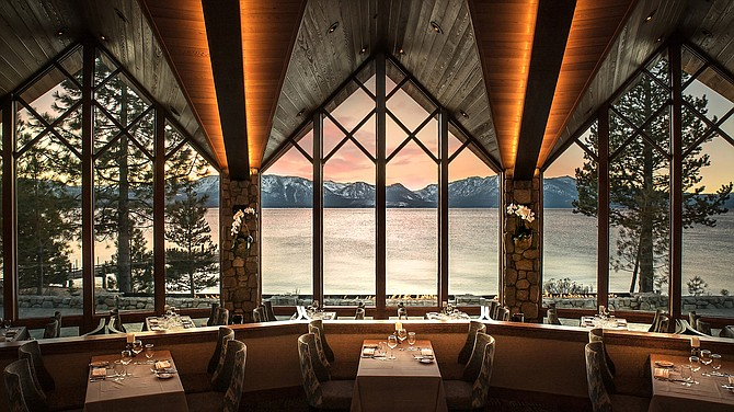 The view from inside Edgewood Tahoe Restaurant, located on the Nevada side of Lake Tahoe's South Shore.