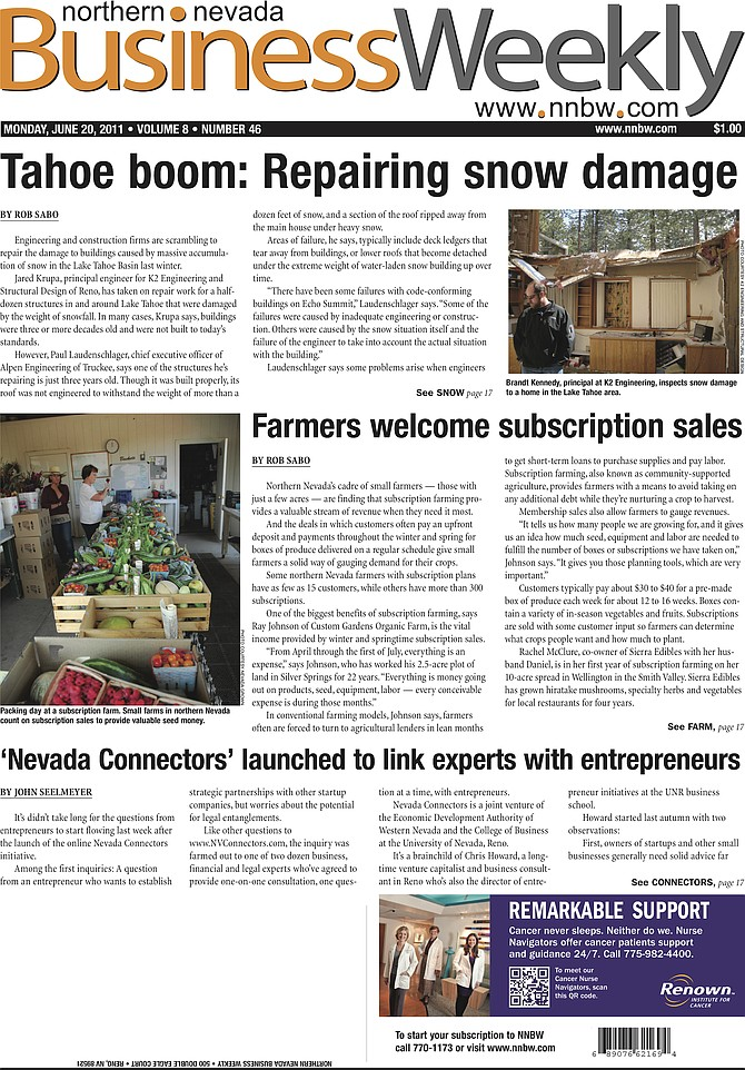 The cover of the June 20, 2011, edition of the Northern Nevada Business Weekly.