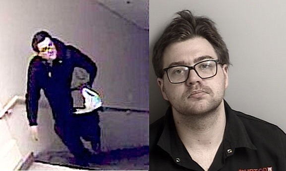 Johnathan Adam Towne's mug shot and a Secret Witness photo issued in May.