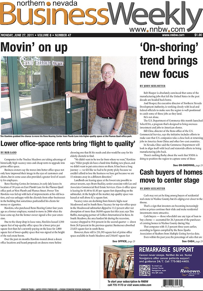 The cover of the June 27, 2011, edition of the Northern Nevada Business Weekly.