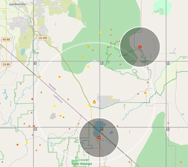 Lightning strikes indicated by lightningmaps.org at 5:35 p.m.