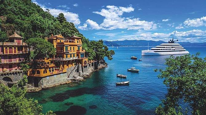 The new 100-passenger super yacht Emerald Azzurra cruises by Portofino, Italy.