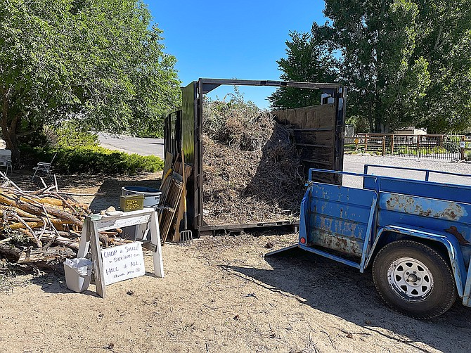 Sheridan residents filled up a big bin with combustibles to reduce fire danger around their homes. Resident Lance Crowley provided this photo.