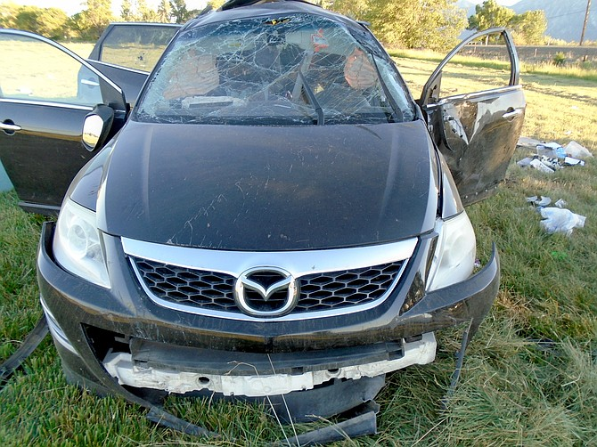 A Mazda that left Highway 88 on June 26 resulting in the death of a Reno woman and the arrest of a California man.