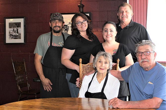 Meet Carson City Joe's Team: back row, from left: Cook Rocky, server Jordan Meshberger, server Alicia Lorca, partner and nephew Bill Griggs. Seated: Owners Bonnie and Joe France.