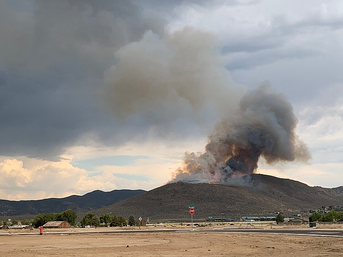 The Prison Hill fire burns on July 2. (Photo: Faith Evans/Nevada Appeal)