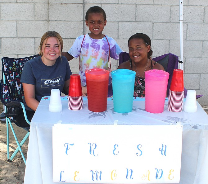 Nothing like fresh, ice cold lemonade on a summer day with the sweltering heat. Cousins RJ, 15, left, and Maliah, 12, along with Johnny (who stopped in) are selling at East Stillwater Avenue and Ideal Drive. They are raising money for Maliah's school trip to Washington, D.C. They will be selling Wednesday and Friday from 9 a.m. to 4 p.m. They have regular, strawberry and berry blast.