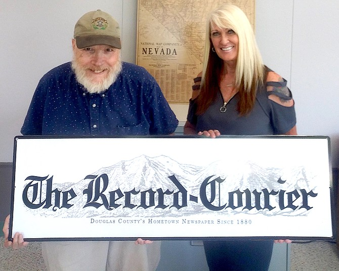 R-C Editor Kurt Hildebrand and Associate Publisher Tara Addeo inside the new offices of The Record-Courier in Gardnerville