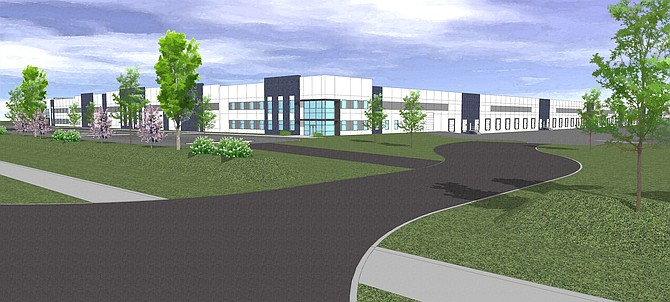 Rendering of the building under construction at 1500 Waltham Way in McCarran, at the Tahoe Reno Industrial Center.